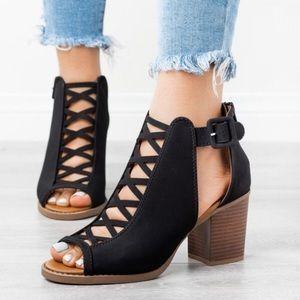 Black Peep Toe Block Heel